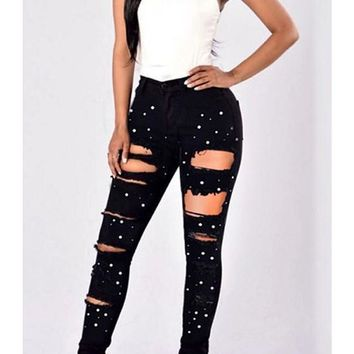Black Patchwork Pearl Ripped Skinny High Waisted Fashion Long Pencil Jeans