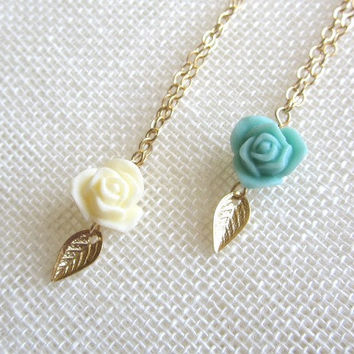 Rose Necklace with Tiny Gold Leaf, vintage inspired, sweet romantic dainty everyday wear, wedding jewelry