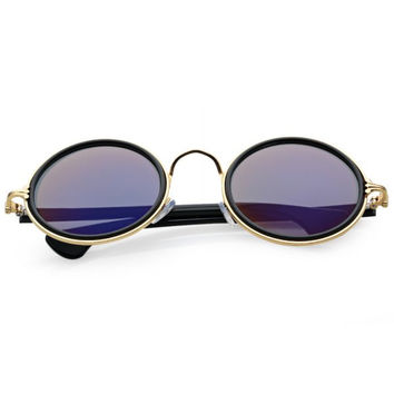 Small Unisex Retro-Vintage Style Inspired Round Metal Circle Sunglasses