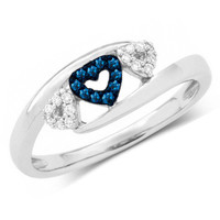 1/10 CT. T.W. Enhanced Blue and White Diamond Triple Heart Promise Ring in 10K White Gold - View All Rings - Zales