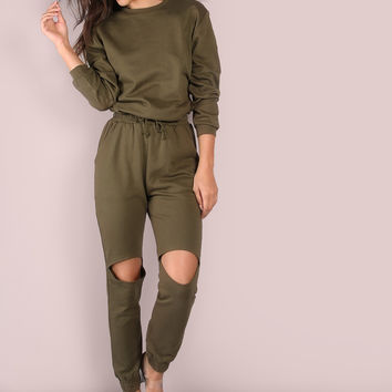 Slouchy Sleeve Knee Cut Out Jumper Olive