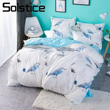 Solstice Home Textile Duvet Cover Pillowcase Bed Sheet Bird White Bedlinen Kid Teen Boys Bedding Set King Queen Twin Size 3/4Pcs