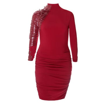 Enchanted Leather and Mesh Embellished Mock Neck Dress, Crimson