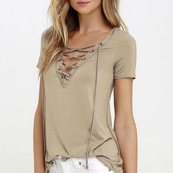 Crossing The Line Top Khaki