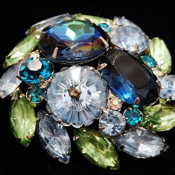 Vintage Juliana DeLizza Elster D & E Margarita Rhinestone Brooch Vaseline Glass Blue Watermelon Verified D and E Something Old Blue Bride