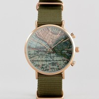 Reclaimed Vintage Inspired Map Canvas Watch In Green Exclusive To ASOS at asos.com