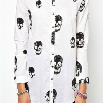 Skull Pattern Long Cutting Top Blouse Chiffon Blouse Skull Blouse white casual skull ivory sweater plus size new collection