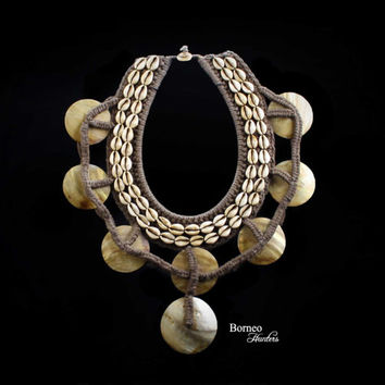 Vintage Papua Necklace Pearl Shell Disk Necklace Tribal New Guinea Woven Drop Front Ceremonial Neck Adorment Statement Home Decor