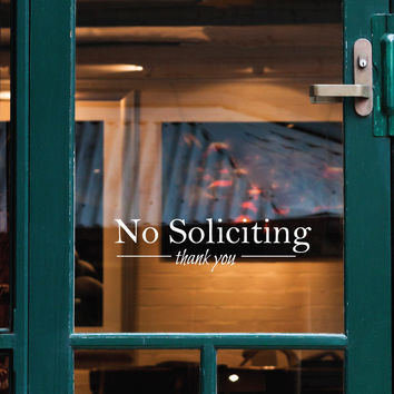 No Soliciting Thank You Door Sign