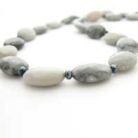 Gray & Black Stone Necklace, Marble and Glass Beads