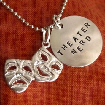 Theatre Gifts, Drama Gifts, Musical Theatre Geek, Comedy Tragedy Necklace with Hand stamped Disc - Glee - Gleek - Drama Club