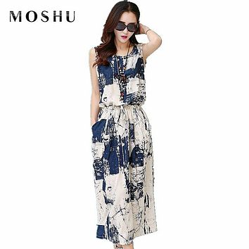 Elegant Women Cotton Linen Dress Female Summer Casual Long Dress Vintage Floral Dresses Sleeveless Blue Black Vestido