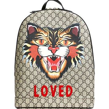 Wiberlux Gucci Women's Loved Patch Cat Print Backpack