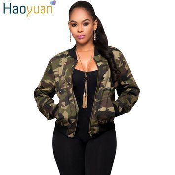 HAOYUAN Autumn Winter Women Basic Coats Bomber Jackets Quilted Long Sleeve Slim Camouflage Casual Short Outwear Camo Jacket