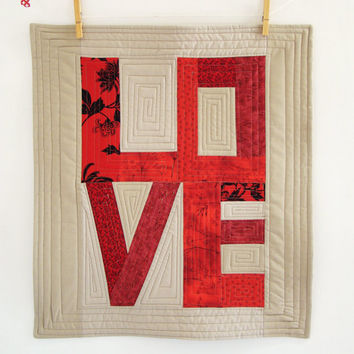 Custom Love art quilt / wall hanging / modern patchwork / decorative mini quilt / table topper/ mothers day gift