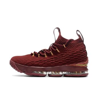 Best Deal Online Nike LeBron James 15 XV Cavs Wine Gold Men Basketball Shoes Sport Sneaker