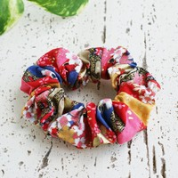 Fabric Scrunchie - Cherry Blossoms in Red Gold Multi ( Discontinued )