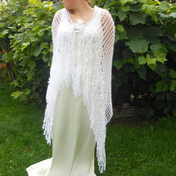 Lace Crochet Rectangle White Mohair Shawl Stole Wrap Neck Warmer Weddings Bride Bridesmaid