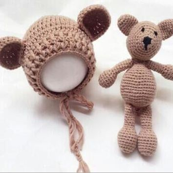 Newborn Baby Girl Boy Photography Prop Photo Crochet Knit Costume Bear +Hat Set size:0-1month