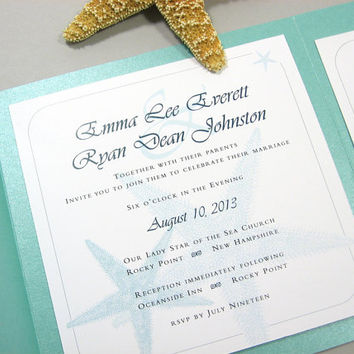 Beach Wedding Invitation Pocketfold Custom Teal Blue Starfish Seaside Ocean Aqua Blue-Green Casual Raffia Wrap Square Pocket