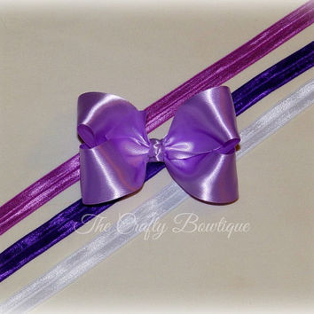 Purple Silky Bow ~ Purple Satin Bow ~ Purple Headband Bow ~ Purple Boutique Bow ~ Large Purple Bow ~ Baby Toddler Bow ~ Purple Hair Bow