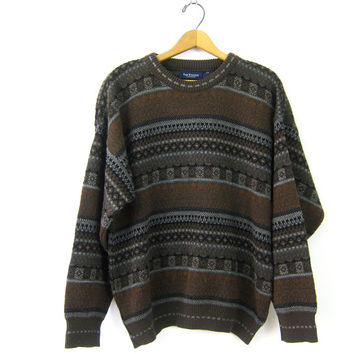 Vintage Dark Brown Sweater Thick Knit Pullover Mens Chunky Knit Bulky Sweater Preppy Hipster Pattern Sweater Mens Large