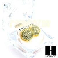 Hip Hop Drake Gold PT Micro Pave Iced Out 15mm Big Bling Hexagon Earrings GE137G