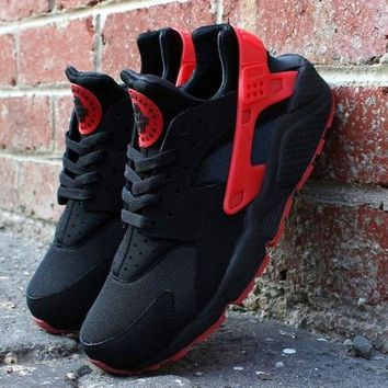 """NIKE""AIR Huarache Running Sport Casual Shoes Sneakers Black&Red"