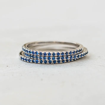 Eternity Ring Set - Silver with Sapphire Blue