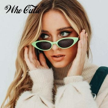 fc2a2f0f5b4bd WHO CUTIE 2018 Cat Eye Sunglasses Women Skinny Narrow Sunnies Cateye Frame  Vintage Retro Slim Tiny