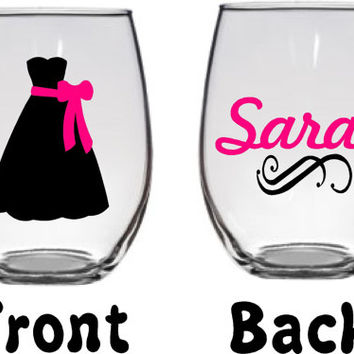 Bridesmaid, Maid of Honor, Bride Custom name large 21oz stemless wine glass personalized, you pick dress colors, wedding party gift, bridal