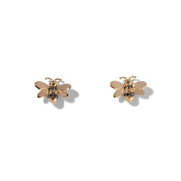 Wonderland Black Diamond Bee Stud Earrings