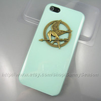 IPhone 5 Case,The Hunger Games Bronze Logo Mockingjay Jelly Mint Green iphone 5 Hard Case