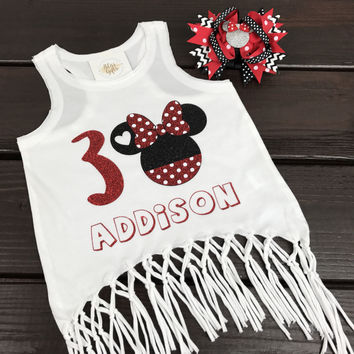 Disney Minnie with Heart Personalized Birthday Tee or Tank with Age