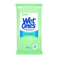 Wet Ones Hand & Face Wipes, Sensitive Skin, Extra Gentle, Travel Packs 15 Each (Pack of 6)