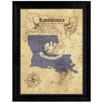 Louisiana State Vintage Map Gifts Home Decor Wall Art Office Decoration
