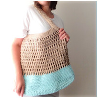 Summer Tote Bag Crochet Market Bag Beach Bag Messenger Bag Color Block Womens Accessories Cotton Summer Spring Fashion Tan Aqua