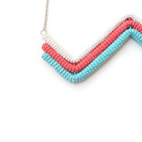 Geometric Chevron Necklace Off White Coral by vanessahandmade
