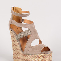 Qupid Florence-34 Strappy Pattern Platform Wedge