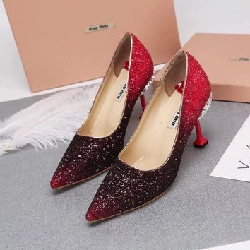 Prada Miu Miu Glitter Pumps With Jewels Black Red - Best Deal Online