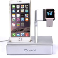 DCK4S2 Apple Watch Stand, Apple Watch Charger iPhone Docking Station, i-DRAWL Charging Stand Portable 3 in 1 Multifunctional Charger Dock Cradle for iWatch and all Smart Phone