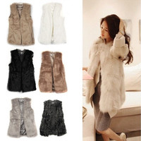 Vintagerose-Women's Sleeveless Faux Fluffy Lamb Fur Coat Jacket Furry Vest Outerwear