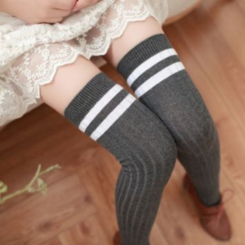 Winter Warm Cozy Comfortable Striped Wool Stockings
