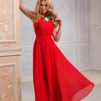 Red Maxi Dress, Chiffon, long evening dress, Bridesmaids Dress, Formal dress, Evening Gowns, Special occasion womens dress, Party dress
