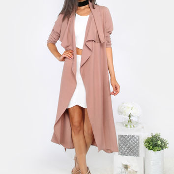 Lapel Long Sleeve Duster Coat MAUVE | MakeMeChic.COM