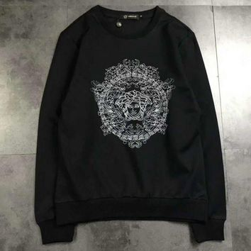 PEAPUF3 Versace  Fashion Long Sleeve Casual Monogram Print Sweater G-A-XYCL