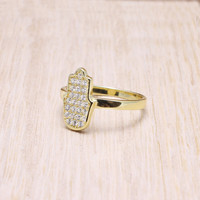 925 sterling silver gold vermeil plated pave cubic zirconia cz hamsa ring