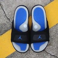 Air Jordan Hydro 4 Slippers Black Gray Blue Slides Sandals - Best Deal Online