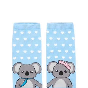 Koala Bear Print Ankle Socks
