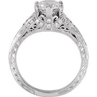 Six Prong Hand Engraved Engagement Ring